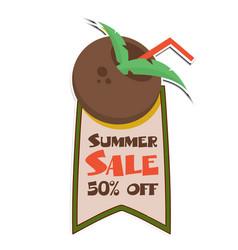 summer sale 50 off ribbon coconut juice backgroun vector image