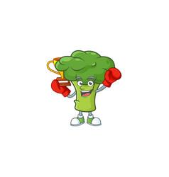 Super cool boxing winner green broccoli in mascot vector