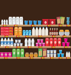 supermarket shelf with food and drinks package vector image
