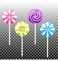 Sweet lollypop candy set Colorful sugar canes vector image