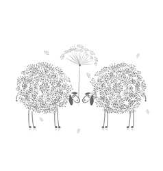 Two funny sheeps sketch for your design vector image