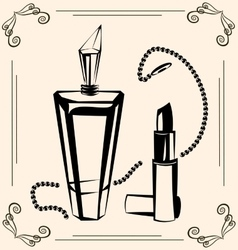 Vintage perfume and lipstick vector