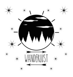 Wanderlust emblem with mountains and clouds vector