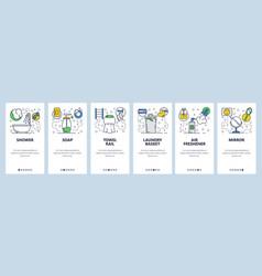 Web site onboarding screens bathroom accessories vector