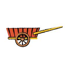 wheelbarrow wooden farm trasnport element vector image