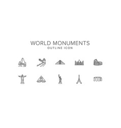 world monuments line icon set vector image