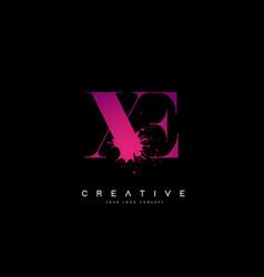 Xe x e letter logo design with black ink vector