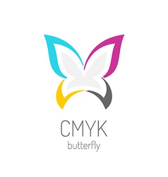 CMYK butterfly logo template vector image