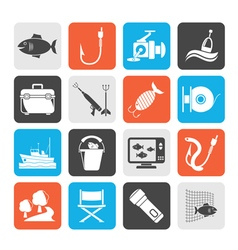 Silhouette Fishing industry icons vector image vector image