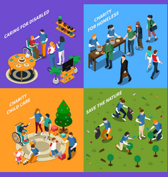 volunteer charity people icon set vector image