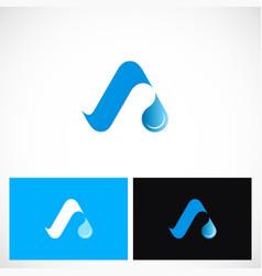 aqua letter a logo vector image