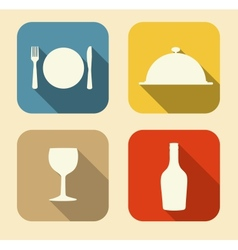 Modern Flat Food Icon Set for Web and Mobile vector image vector image