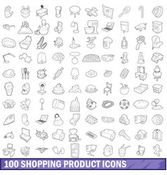100 shopping product icons set outline style vector
