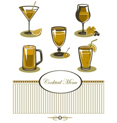 Drinks icons set orange menu vector image vector image