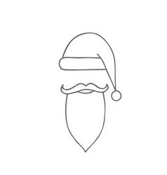 santa hat moustache and beard christmas elements vector image vector image