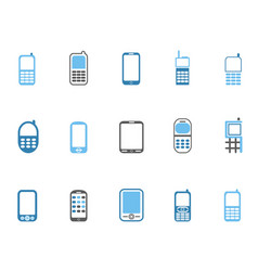 blue cell phone icons set vector image vector image
