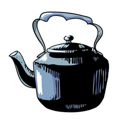 cartoon image of old black kettle vector image vector image