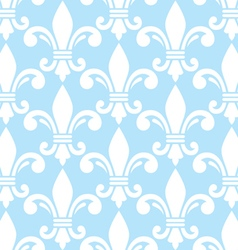 Fleur de lis white and blue semless pattern vector image