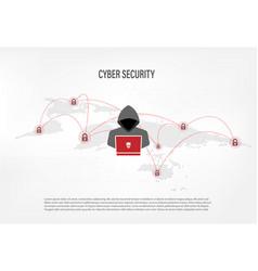 hacker on world map digital background vector image