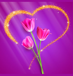 realistic tulip flowers flowers of tulips close vector image vector image