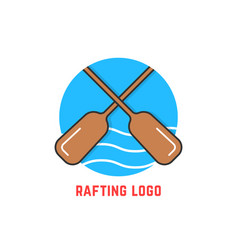 round blue rafting logo vector image