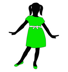 toddler girl in green dress posing silhouette vector image