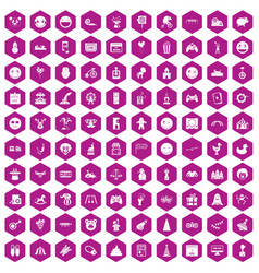 100 funny icons hexagon violet vector
