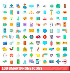 100 smartphone icons set cartoon style vector image