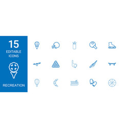 15 recreation icons vector image
