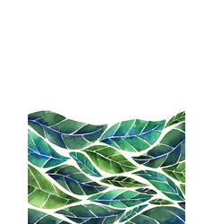 abstract tropical green leaves border watercolor vector image