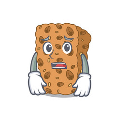 Afraid granola bar mascot cartoon vector