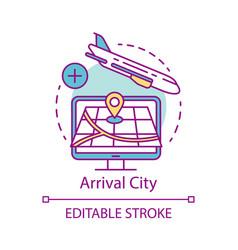 arrival city concept icon flight destination idea vector image