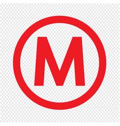 basic font letter m icon design vector image