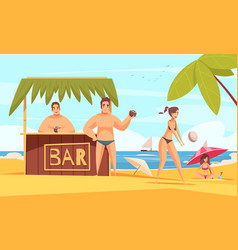 beach bar ocean composition vector image