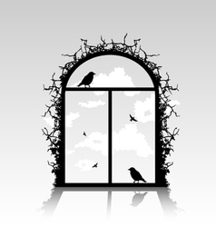 birds silhouette in the window vector image