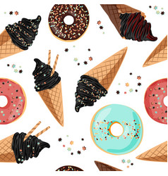 birthday seamless pattern with sweets - ice cream vector image