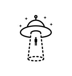 Black human abduction aliens icon vector