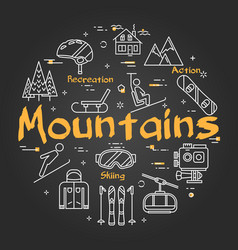 black mountains concept vector image