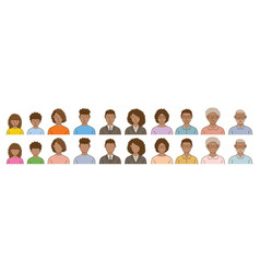 Black people avatar various ages set vector