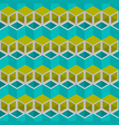 blue and green cubes pattern seamless background vector image