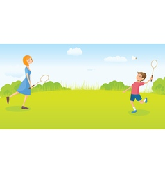 Boy and girl playing badminton vector