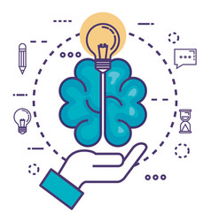 Brain with innovation icons vector