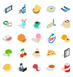 breakfast icons set isometric style vector image