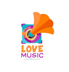 Bright music logo with gramophone old school vector