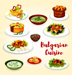 bulgarian cuisine icon of dinner dish with dessert vector image