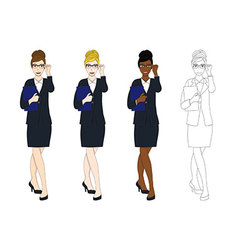 Business Woman Glasses with Document vector image
