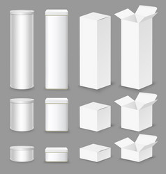 cardboard box mockup set isolated vector image
