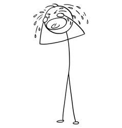Cartoon crying man or businessman vector