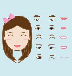 cartoon cute girl character pack facial emotions vector image