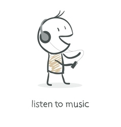 Cartoon man listening to music vector image